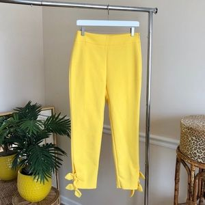 ZARA Yellow Hi Rise Ankle Bow Tie Trousers M